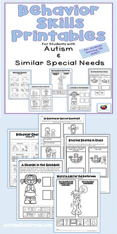 Behavior Skills Printables for Students with Autism & Similar Special Needs. These behavior skills printables will work well for any students whose special needs include developmental delays or it may work for younger students in primary grades learning to be more aware of their behavior. #autism #specialeducation