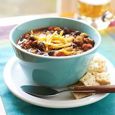 Look no further for the ultimate, easy chili recipe. With just a push of a button, your weekday dinner is taken care of as the chili cooks away in the slow-cooker. Add chili to your next barbeque to top grilled sausages for an upgraded version of chili dogs. You can easily substitute ground turkey instead of beef for a lighter option and the rest of the ingredients should already be stocked away in your pantry. To top the hot, spicy chili, add shredded Cheddar cheese and corn chips for extra…