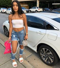Black Girls Crop Top Dresses For Casual Outing Pinned onto Black Girl Fashion Cute Swag Outfits, Chill Outfits, Dope Outfits, Trendy Outfits, Summer Outfits, Baddies Outfits, Summer Ootd, Teenage Outfits, Teen Fashion Outfits