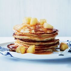 Lemon-Ricotta Pancakes with Caramelized Apples | For the ultimate pancakes, use fresh ricotta cheese and finely grated lemon zest.