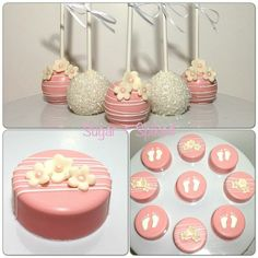 Pink and white baby shower cakepops and oreos sweets cake pops, cake Baby Shower Treats, Baby Shower Cake Pops, Baby Shower Desserts, Chocolate Covered Treats, Chocolate Dipped Oreos, Sweets Cake, Cupcake Cakes, Patisserie Fine, Oreo Treats