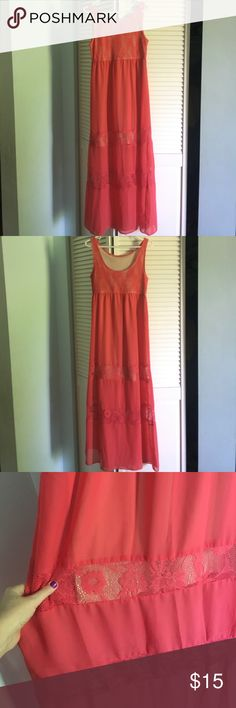 Long sheer sundress with slip Adorable coral killing sheer type sundress with nude slip underneath. It has lace for even more of a cute detail! The slip stops short so the rest of the dress is sheer and flows. Very pretty for summer. Cool too. Worn only twice. Excellent condition. Length approximately 57 inches. Slip stops at about 35 inches. True to size. Spoiled Dresses