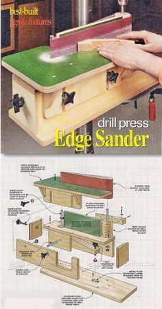 DIY Edge Sander – Sanding Tips, Jigs and Techniques - diy projects Woodworking Workshop, Woodworking Jigs, Carpentry, Woodworking Projects, Wood Tools, Diy Tools, Sanding Tips, Diy Workshop, Homemade Tools