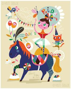 Pretty Little Circus ... limited edition giclee von helendardik