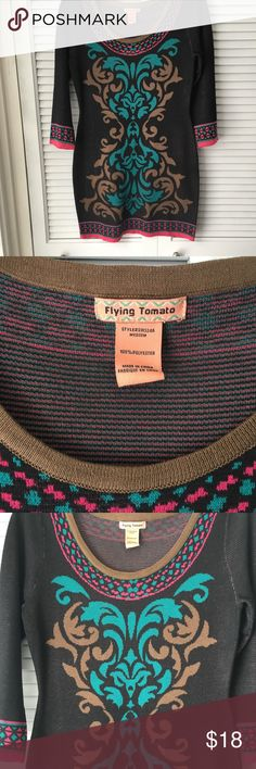 Flying Tomato Fitted Sweater Dress Beautifully patterned, heavy-knit sweater dress with solid brown back.  Looks great over denim leggings or alone with tall brown boots. Gently worn, size medium. Flying Tomato Dresses Long Sleeve