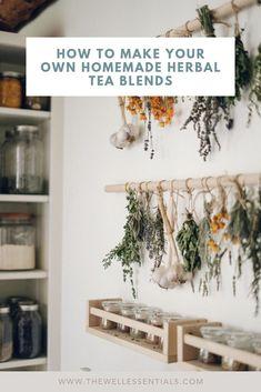 How To Make Your Own Homemade Herbal Tea Blends tea benefits tea blends tea garden tea photography tea recipes Vintage Farmhouse Decor, Vintage Diy, Herb Drying Racks, The Farm, Homemade Tea, Diy Garden, Garden Shrubs, Garden Beds, Disney Home