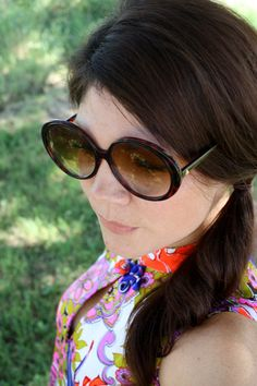 Vintage 80's does 1960's Tortoise Shell Plastic Oversized Round Eye Glasses Sunglasses by pursuingandie, $34.50