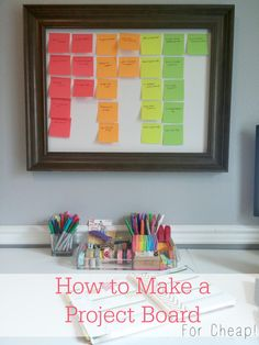How to Make a Project Board For Cheap! - This is perfect for blog post idea brainstorming, meal planning or any other project management that requires visual reminders. Use post-it notes so it can be re-used over and over. Color-coded and everything! Be still my heart! An Exercise in Frugality