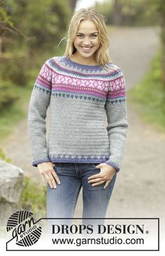 "Crochet DROPS jumper with multi-colored pattern and round yoke, worked top down in ""Karisma"". Size: S - XXXL. Free pattern by DROPS Design."