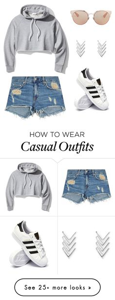 """""""Casual"""" by kaylee3257 on Polyvore featuring Christian Dior, Frame, rag & bone/JEAN and adidas"""