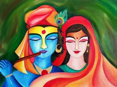 """Radha and Krishna  The eternal story of love Side by side.  They are two bodies one soul.   Oil on canvas 20x30"""" Original painting"""