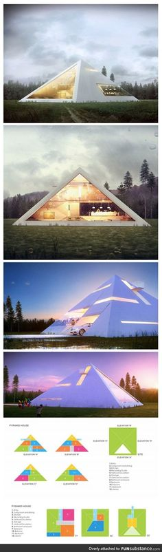 We've seen our fair share of unique modern home designs like the box-shaped metallic house or the abstract fortress made of concrete, but Mexican architect Juan Carlos Ramos has taken on a form less-visited for his aptly titled project Pyramid House—a con Futuristic Architecture, Amazing Architecture, Interior Architecture, Architecture Geometric, Residential Architecture, Design Exterior, Home Interior Design, Facade Design, Kitchen Interior