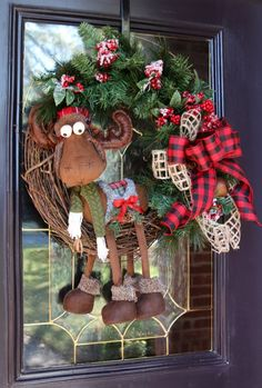 Christmas Door wreath with Moose, Winter Lodge Holiday Door Decor, Farmhouse Christmas wreath, Rustic Country Cabin Buffalo Check decor - Christmas Door wreath with Moose Winter Lodge Holiday Door Christmas Wreaths For Front Door, Christmas Door Decorations, Holiday Wreaths, Christmas Moose, Burlap Christmas, Christmas Ornaments, Christmas Swags, Christmas Pillow, Christmas Paper