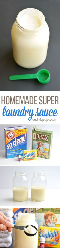 This DIY laundry detergent is easy to make and it's SO CHEAP! It works way better on those tough stains than regular detergent and it smells amazing! And best of all, you only need 1 tablespoon per load!