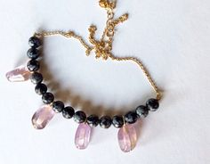 Obsidian and ametrine necklace/ Mixgemstone by TheBarnsburyStudio