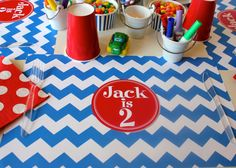 Chevron Personalized Paper Placemat For Birthday Party by TIPgifts