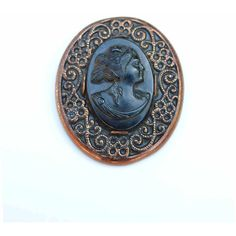 1930s Antique Black Celluloid Cameo on Stamped Copper by Robbins Co... ($27) ❤ liked on Polyvore featuring home and home decor