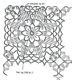 Ru / Фото 33 - Wena - T - Diy Crafts - maallure Crochet Diy, Crochet Doily Diagram, Crochet Mandala Pattern, Crochet Motifs, Crochet World, Crochet Chart, Crochet Granny, Vintage Crochet, Crochet Stitches