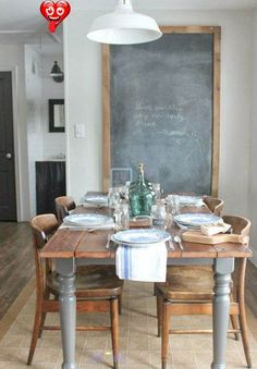 "Living With Kids: Kat Hertzler ⋆ Design Mom From the Living With Kids Home Tour featuring Kat Hertzler. #chalkboard #table #dining #interior<br> By Gabrielle. I definitely wouldn't look at Kat's home and think to myself ""I'll bet they did all this debt-free!"" No, that would not be my first, second, or even tenth thought. Because there's so much else to think about in this tour! Like the... Home Interior, Interior Design, Kitchen Interior, Interior Ideas, Modern Interior, Modern Table, Rustic Modern, Rustic Wood, Weathered Wood"