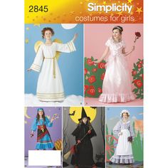 Child's and girls' costumes for angel, princess, pirate, witch, and girl settler. Includes dress, belt, cape, hat, cap, apron, scarf, and wings patterns. Simplicity sewing pattern.