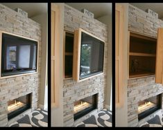 Don't care for the stone or the color wood, but I love the idea of storage behind the mounted TV.