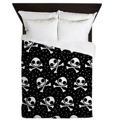 Ophelia's Art and T-shirts: Cute Skulls Queen Duvet: Personalize your bedroom and protect your comforter with a custom duvet cover. You can rest in luxurious comfort under your soft duvet, the only thing hard about it is getting up the next morning! Between The Sheets, Home Comforts, Sugar Skulls, Queen Duvet, Skeletons, My Dream Home, Bedding Sets, Blankets, Duvet Covers