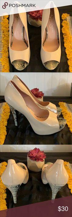 669b82291 SAME DAY SHIPPING: Jessica Simpson Heels Jessica Simpson Open Toe Heels.  Snakeskin Detail.