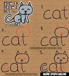 DesertRose,;,nice,;, Easy Drawing Tutorial, Drawing Tutorials For Kids, Art Tutorials, Drawing Ideas, Drawing Tips, Easy Drawing For Kids, Simple Cat Drawing, Drawing Lessons For Kids, Sketch Ideas