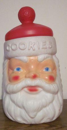 Santa Cookie Jar - An old blow mold plastic Santa cookie jar