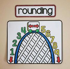 rounding roller coaster anchor chart on a grade math word wall - This would be great to have for students so they understand how to round numbers. Math Wall, Math Word Walls, Math Vocabulary Wall, Math Games, Math Activities, Multiplication Games, Math Classroom Decorations, Seasonal Classrooms, Math Anchor Charts