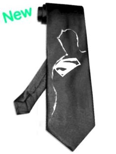 Superman shadow tie Black superhero necktie Silver Image