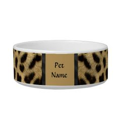 Posh Pet  Cheetah Pattern - Customize Cat Food Bowls