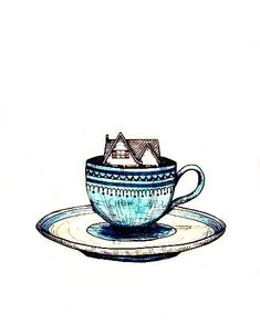 """""""Alice"""" by Lisa Chow pen and watercolor on tea stained paper Tea Art, My Cup Of Tea, Print Pictures, Tea Cups, Illustration Art, Art Prints, Drawings, Artwork, Coffee"""