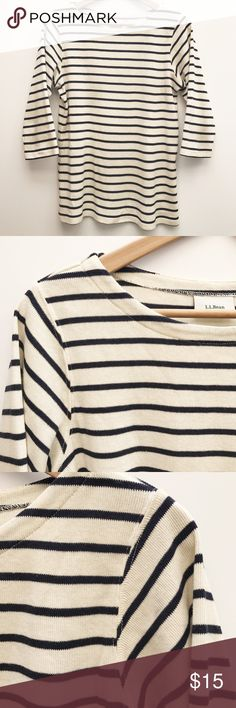 """Classic Breton Top This wardrobe staple is the perfect knit for fall. Add this 100%  cotton, boat neck, 3/4 sleeve top to your capsule collection. BUST 18"""" LENGTH 23"""" SLEEVES 16"""" #OOTD: Wear underneath your favorite blazer for a casual but polished look. L.L. Bean Tops Blouses"""