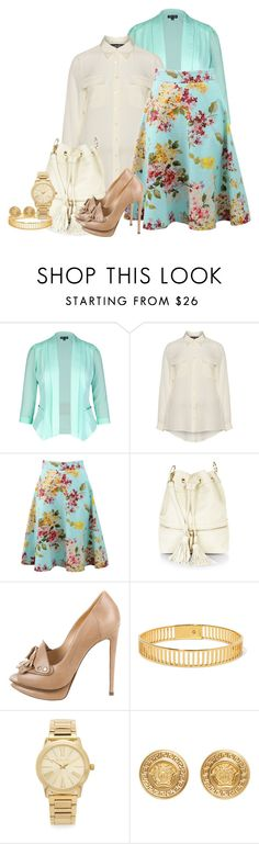 """Blumarine Floral Printed Circle Skirt"" by ljbminime ❤ liked on Polyvore featuring City Chic, navabi, Blumarine, Nicholas Kirkwood, Arme De L'Amour, Michael Kors, Versace, women's clothing, women and female"