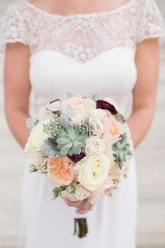 Succulent, peach, pink, cream bridal bouquet DAR Wedding | Alicia Lacey Photography