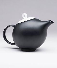 Black Stoneware Teapot