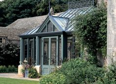 Conservatory with bronze windows and doors