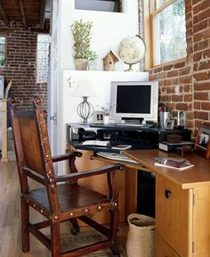 DIY UNFINISHED BASEMENT: Basement Wall Idea.  If basement  walls are originally brick instead of poured concrete, leave them as is for a chic loft-like look.  Concrete walls could be covered with faux brick treatment.