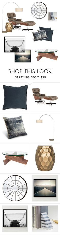 """Masculine modern living room accents"" by wrymommy ❤ liked on Polyvore featuring interior, interiors, interior design, home, home decor, interior decorating, West Elm, Rove Concepts, CB2 and Dot & Bo"