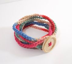 Crochet Cotton Yarn Bracelet. Make with added beads and wooden charms for Trudi