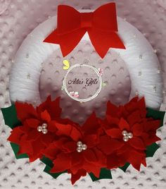 Felt poinsettia wreath with lace and pearls