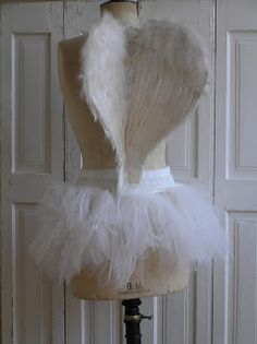 Dress form with wings and a tutu- maybe for valentines decor