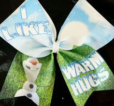 Cheer Bow -  Frozen - I Like Warm Hugs Olaf Glitter  - Hair Bows #Disney