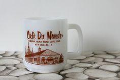 Vintage milk glass mug souvenir coffee cup white by MossAndBerry, $14.00