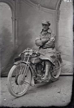 Portrait of an unidentified signals rider on a despatch motorcycle. From the Thuillier collection of glass plate negatives. Taken by Louis and Antoinette Thuillier in Vignacourt, France during the period 1916 to 1918.