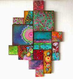 With your hands: scrap mosaic collage art, acrylic canvas, canvas art, deco Pintura Graffiti, Mini Toile, Wal Art, Quilt Modernen, Diy Wall Art, Paint Designs, Medium Art, Art Techniques, Painting Inspiration