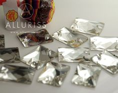 12pcs Clear Crystal wide Rectangle Large 25mm x 18mm by ALLURISS, $7.60