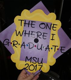 Use your grad cap to reference your all-time favorite TV show. This Friends TV show cap is decorated with wit and style.