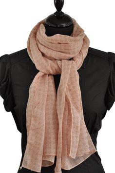 Foulard motif pied de poule rose poudré